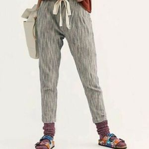 Free People Light at Sunrise Blue Striped Cropped Paperbag Linen Pants